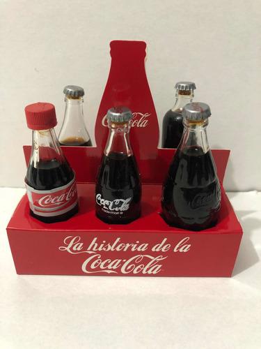 Coca Cola La Historia  Mini Set De 6 Botellas Edicion 80's