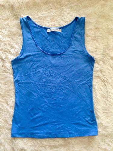 Musculosa Basica Zara Mujer Azul Claro Bretel Ancho