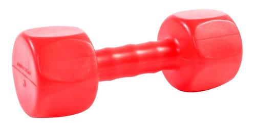 Mancuernas 3 Kg Plastica Pesa Metal Hexagonal Pvc Color Rojo