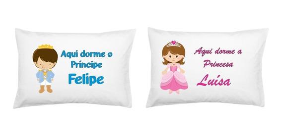 Fronha Personalizada Princesa E Príncipe Infantil