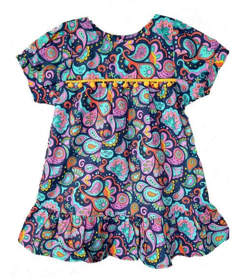 Vestido Infantil Flores Marinho- Pronta Entrega - Promoção