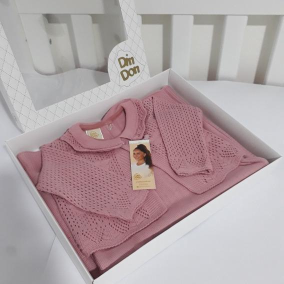 Saída De Maternidade Feminina Luxo Rosa Claro