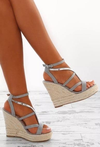 Mulheres Cunha Sandálias Sapatos Bandagem Dedo Do Pé Abert