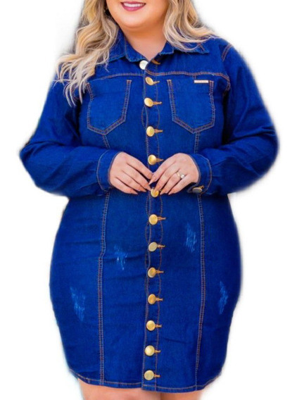 Vestido Jeans Manga Longa Plus Size Collection Blog Ref. 21