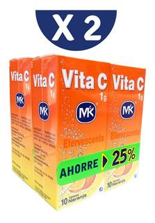 4 Vitaminas C Efervescente 10 Tabletas Naranja +envio Gratis
