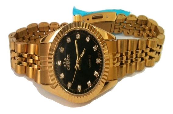 Relógio Feminino Analógico Dourado Último Disponível