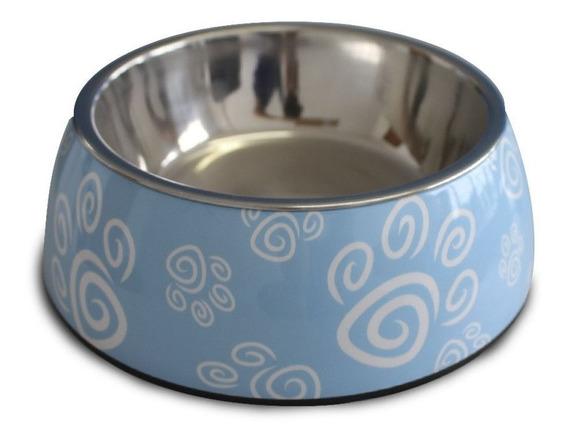 Comedouro Cães Gato Inox Melamina Melanox Petflex 400ml Azul