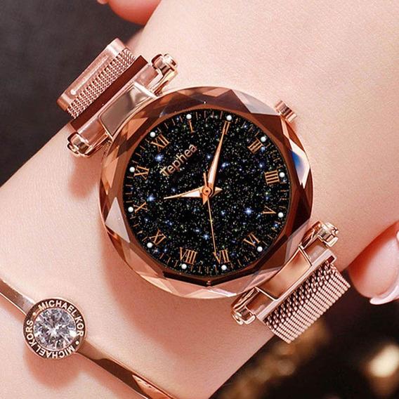 Relógios Céu Estrelado Rose:resistente A Aguá 30 M Luminoso