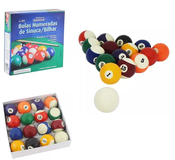 Bola Bilhar Snooker Sinuca 16 Bolas 52mm Numeradas Jogo