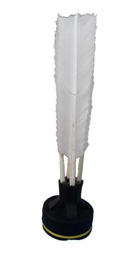 Peteca Oficial Kaemy Preta Com Penas Brancas 20cm