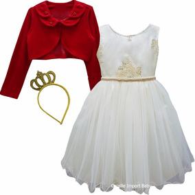 Vestido Bege E Dourado Realeza Infantil Festa Luxo E Bolero