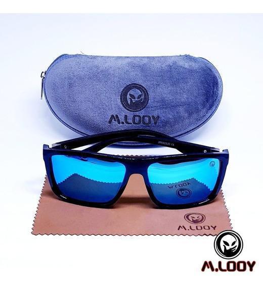 Óculos De Sol M.looy Com Lentes Espelhadas Azuis, Polarizado