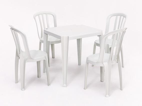 Conjunto De Mesas E 4 Cadeiras De Plastico Rei Do Plastico