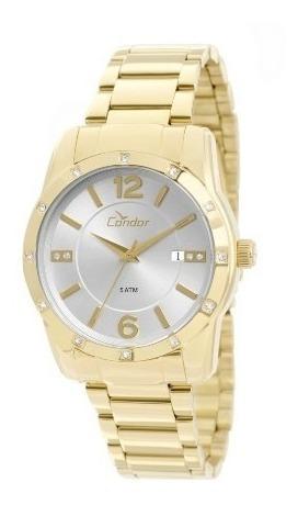 Relógio Feminino Condor Dourado Com Pedras Co2115st/4k
