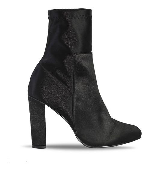 Zapatos Botin Dama Tacon Ancho Mujer Gamuza Negro Satin
