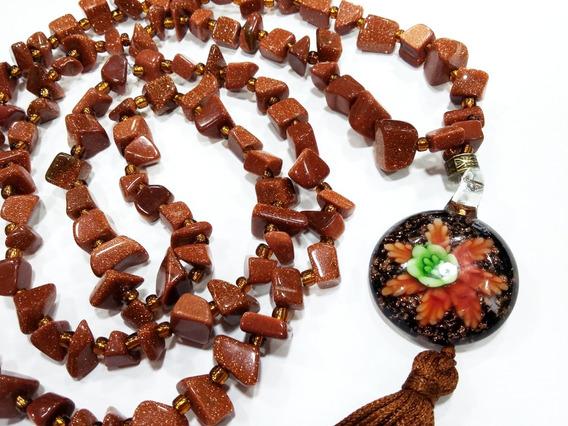 Colar Japamala 108 Pedras Do Sol C/murano Flor Comprido 50cm