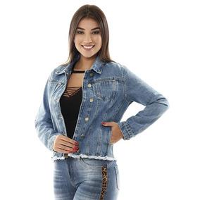Jaqueta Jeans Sawary Feminina Barra Desfiada Botões Dourados