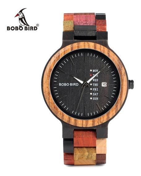 Reloj De Madera Bobo Bird Original Fecha Y Hora Unisex