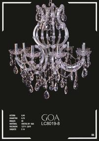 Lustre De Cristal K9 - Aaa 8 Braços Goa - Lc8019-8