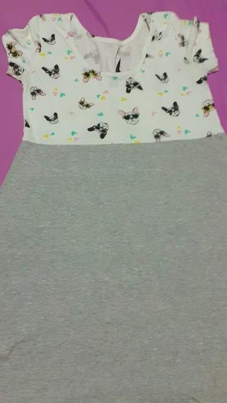 Vestido Nena/niña Manga Corta Gris Perrito T.16