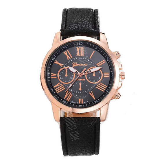 Relógio Social Masculino Dourado Pulseira De Couro