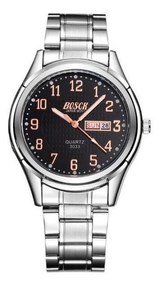 Relógio Masculino Marca Bosck-3033 Quartz Com Calendário Dup