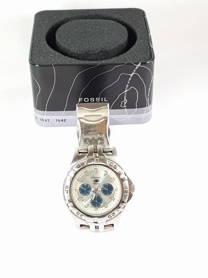 Fossil Blue Bq-9165 Silver Strap Watch