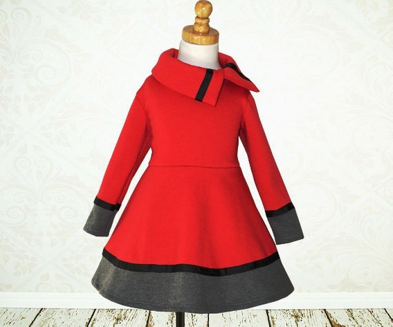 Vestido Nena Invierno Dafne Fiesta Bombona Rojo Cuotas Chic