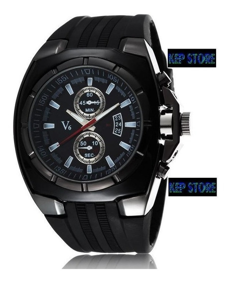 Relógio V6 Analógio Preto Speed Quartz Masculino Original