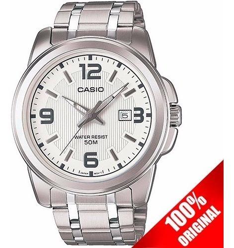 Reloj Casio Mtp1314 Cara Blanca Acero Inoxidable 50 M