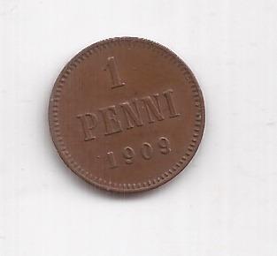 Finlandia Moneda De 1 Penni Año 1909