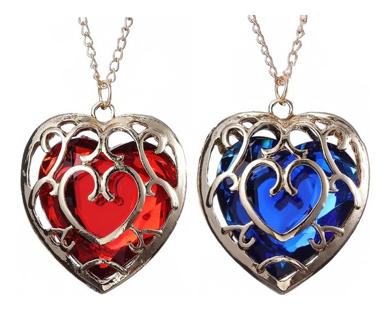 Par Corazón Collar Zelda Link Rojo Azul Pareja