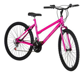 Bike Aro 26 Feminina 18 Marchas Aço Pro Tork Ultra Rosa