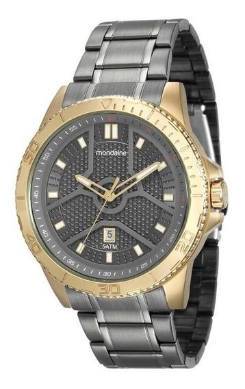 Relógio Mondaine Dourado Fundo Grafite 99102 Gpmvja1