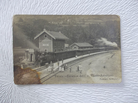 8505- Postal Estac. Tren Trubia, Vasco Asturiano Deteriorada
