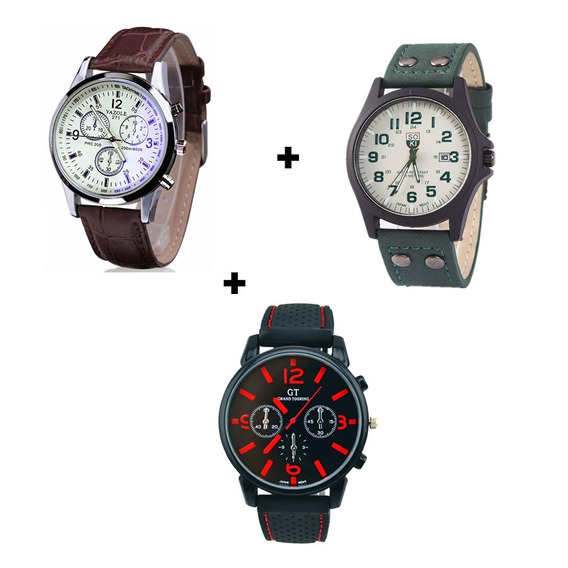 Kit Com Três Relógios Para Homem Ótimo Preço Qualidade Couro