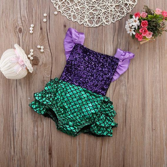 Body Romper Sereia Ariel Fantasia Carnaval Bebê Infantil