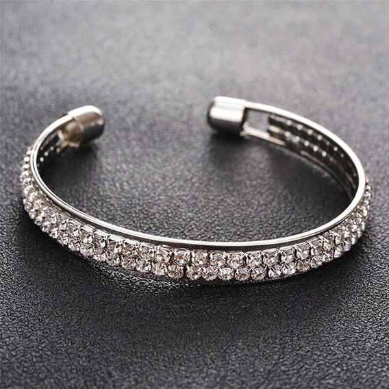 Luxuosa Pulseira Bracelete Prateada Strass Festa Fashion