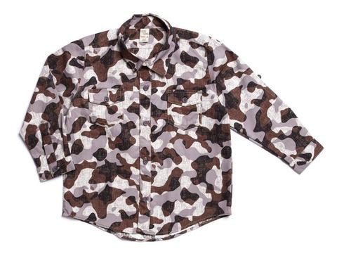 Imagem 1 de 1 de Camisa Camuflado Cinza Camu Camu Infantil Menino