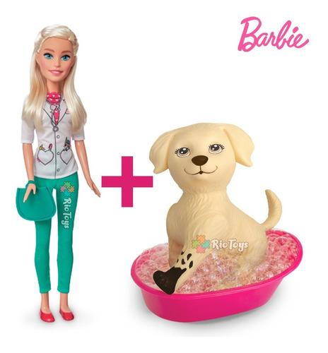 Linda Barbie Veterinária Com Cachorrinho Pet Da Barbie Novos