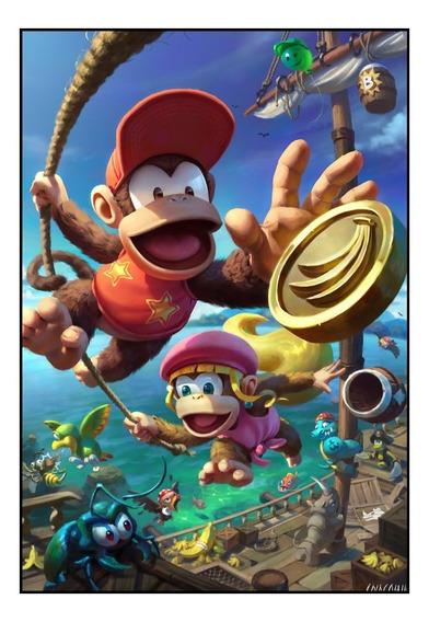 Quadro Game Donkey Kong Nintendo Arte Moldura 42x29cm