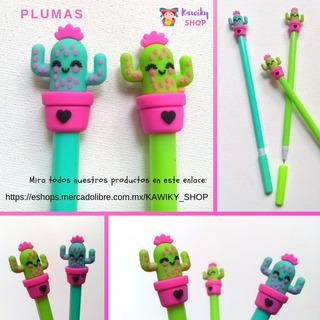 12 Plumas Cactus Girl Papelería Kawaii Regalo Fiesta Mayoreo