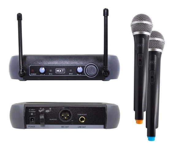 Microfone Sem Fio Duplo De Mão Uhf 202 Mxt Profissional