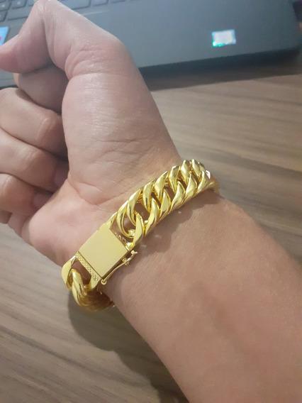 Pulseira Masculina Grumet Dupla 15mm Banhada A Ouro 18k