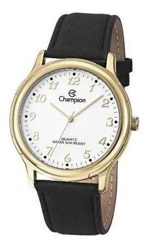 Relógio Masculino Champion Dourado Couro Preto Cn20033b