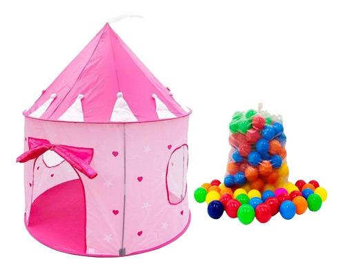 Barraca Infantil Castelo Rosa C/50 Bolas Piscina De Bolinhas