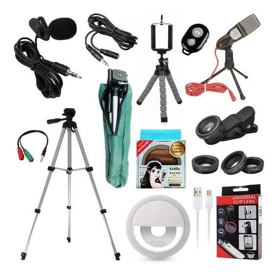 Kit Youtuber Lapela Microfone Mesa Celular Tripé 1,30m Flash