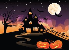 Fundo Fotográfico Tecido Castelo Halloween 2,20m X 1,50m