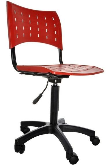 Cadeira Giratória Secretária Plástica Nova,regulagem Á Gás