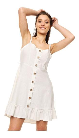 Vestido Corto De Lino Con Volados Mia Loreto Modelo Cozumel